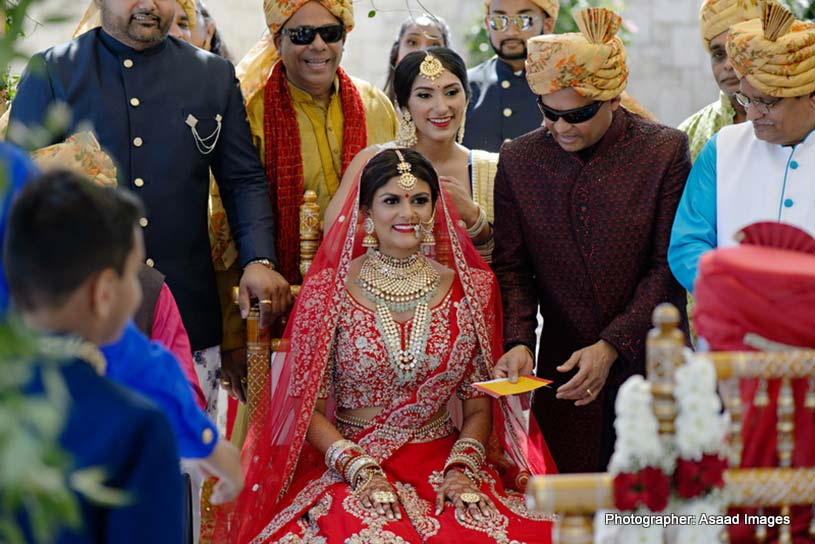 Indian Bride and Groom Taking Seven Vows - Saptapadi
