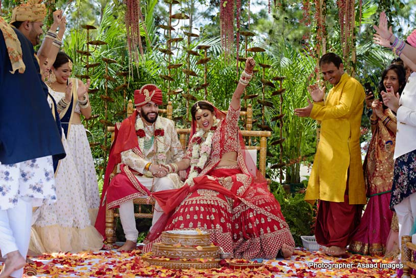 Indian Livebirds Enjoying Wedding Ritual