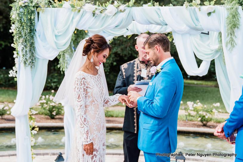 Indian Couple Exchanging Ring Ritual