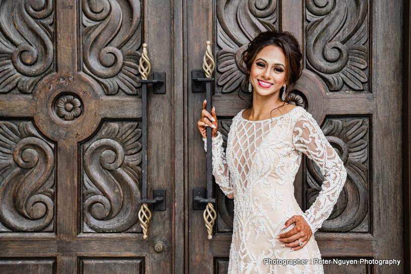Enchanting Indian bride on her white wedding dress