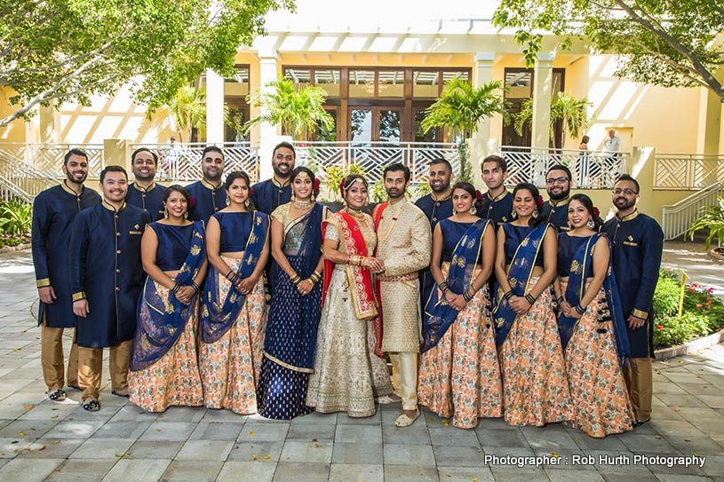Indian groom and bride with Friends