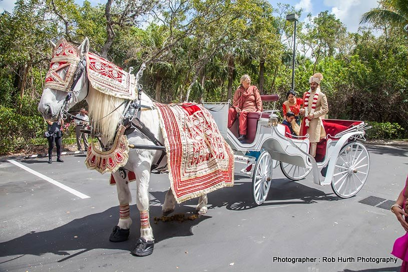 Indian groom entering on horse carriage