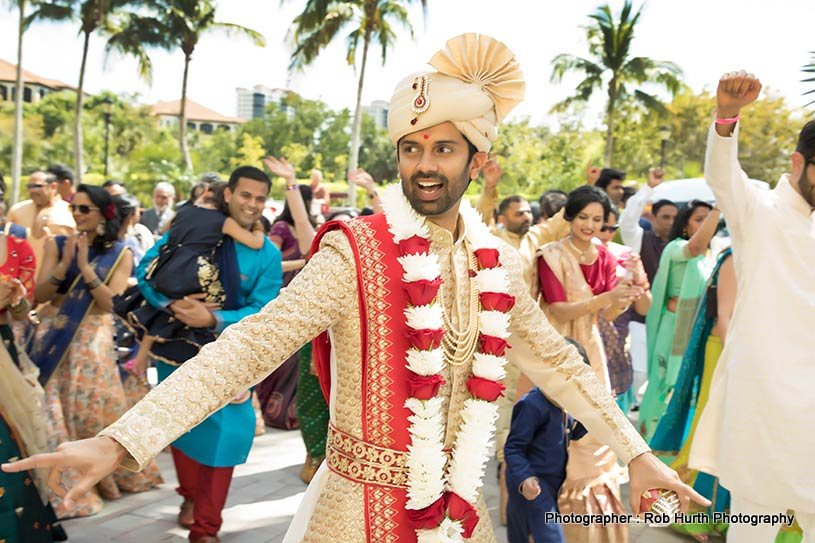 Indian Groom Dancing at the baraat