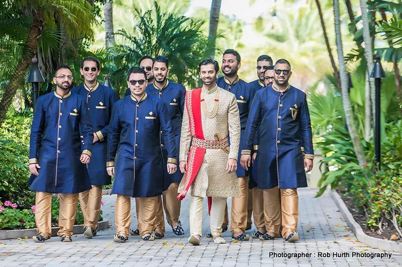Indian Groom Entering the wedding venue with Groomsmen