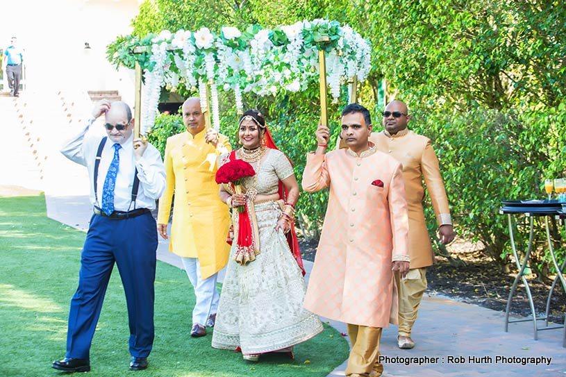 Indian Bride going to wedding mandap