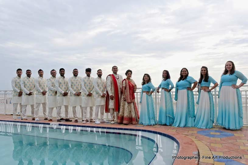 Indian Couple with bridesmaids and groomsmen
