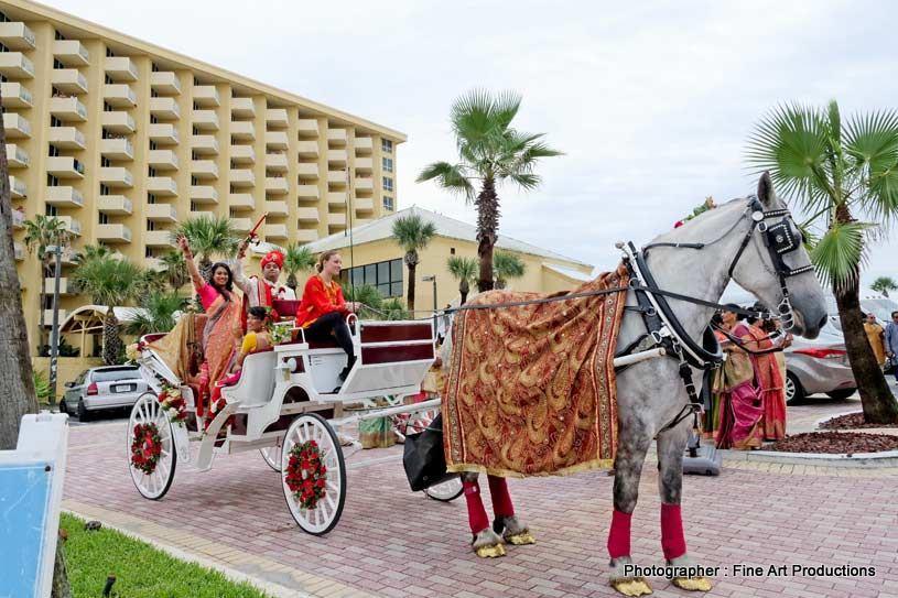 Indian groom Entering in the horsecart