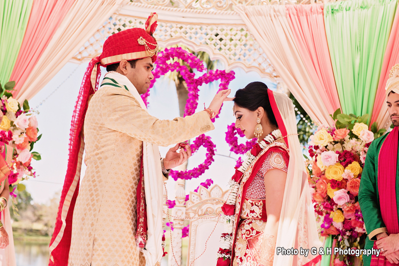 Sindoor application indian wedding ritual