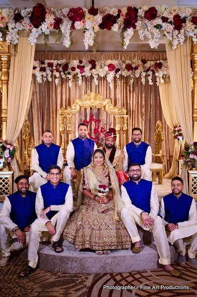 Indian Bride with groomsmen