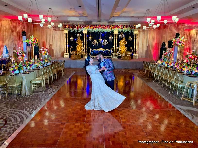 Indian COuple having their first dance after wedding