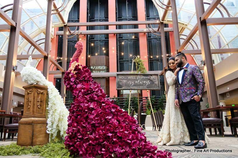 Beautiful peacock indian wedding decor