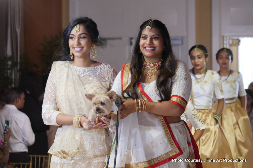 Bride with Bridesmaids at wedding reception