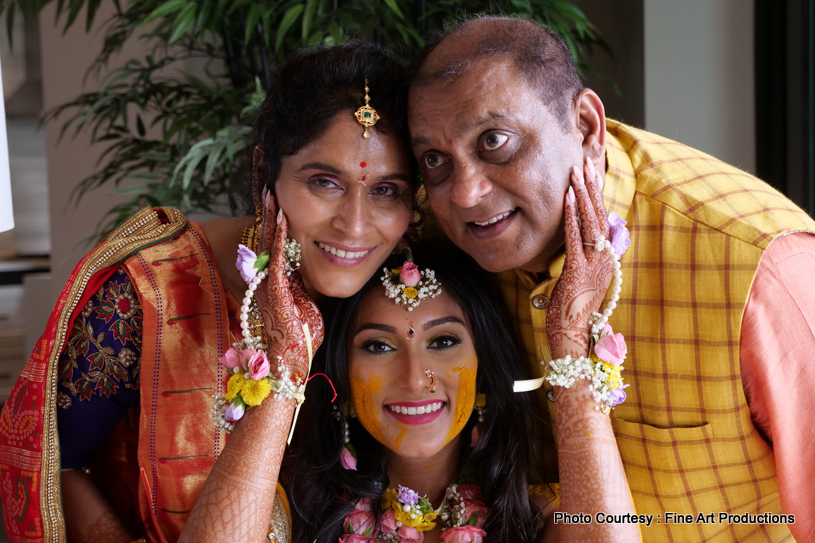 Indian Bride Showing heena art to her father