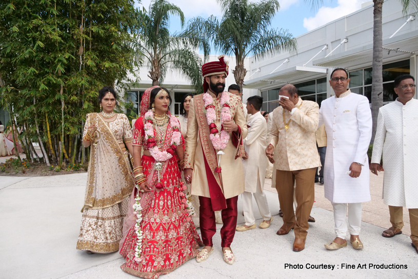 Indian Bride Posing with Family Members