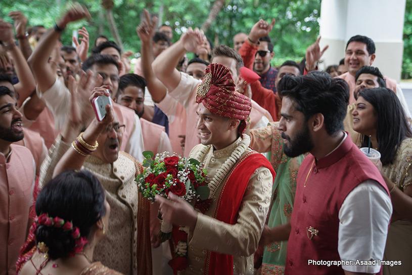 Indian groom at the baraat