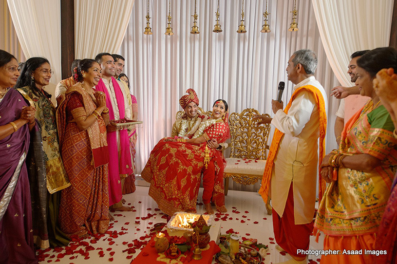 Indian Couple having fun in the middle of ceremony