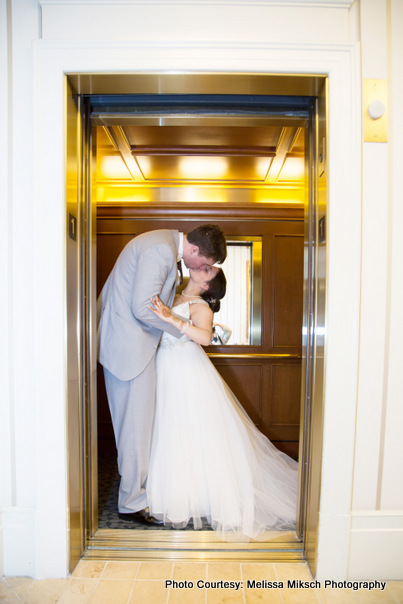 Couple standing in lift