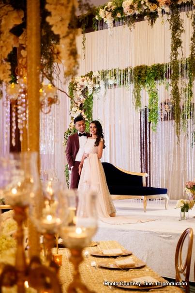 Indian Wedding Couple Ready for Wedding Reception Dress