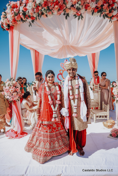 Indian Couple Arriving at the Mandap
