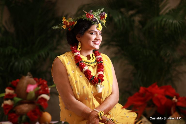 Indian Bride Posing at haldi Ceremony