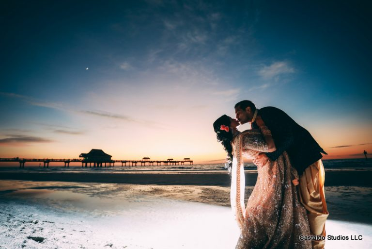 Indian Couple Kissing at the Beach