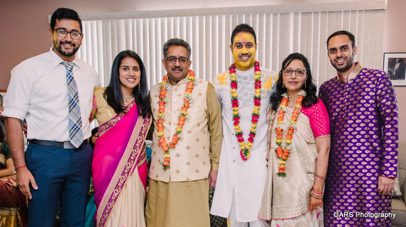 Indian Friends And Family at Haldi Ceremony