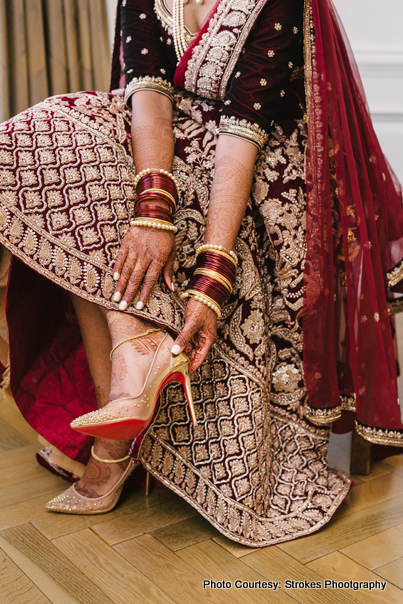 Bride wearing footwear for her big day