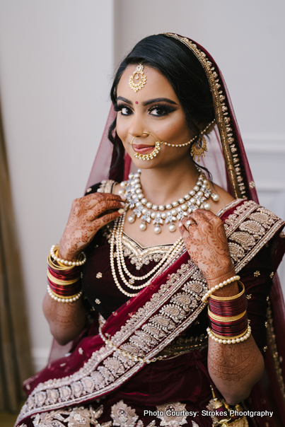 Detailed look of indian bridal jewelry