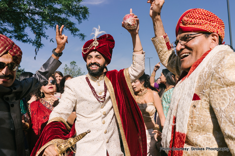 Indian Groom Dancing at the baraat