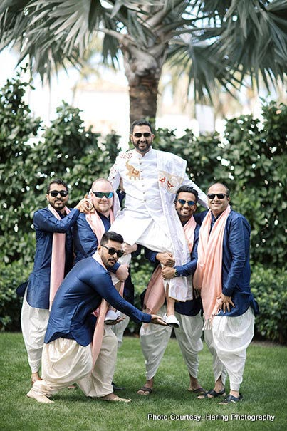 Indian Groom having fun with friends