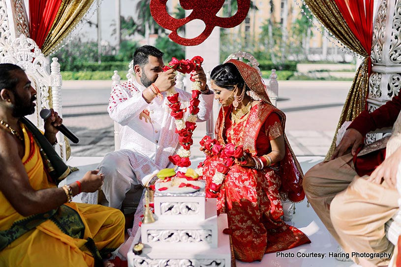 Indian Groom Exchanging Garland