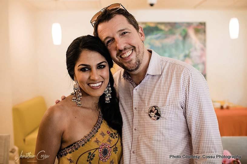 Couple posing at Mehndi Ceremony