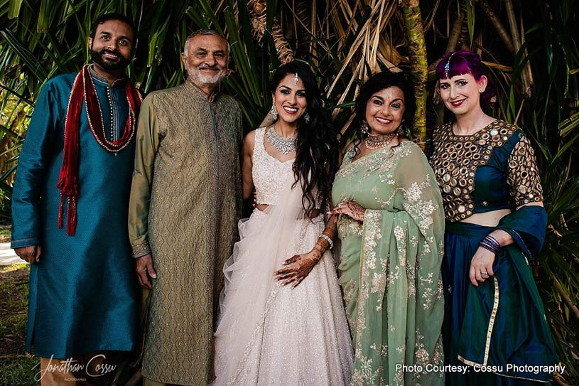 Indian Bride posing with her family