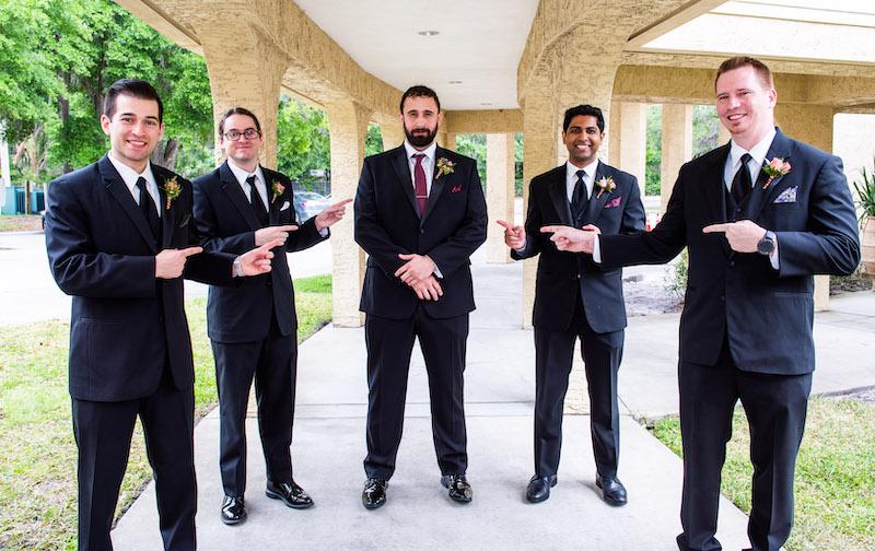 Groom Posing With groomsmen