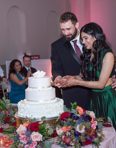 Wedding cake cutting ceremony